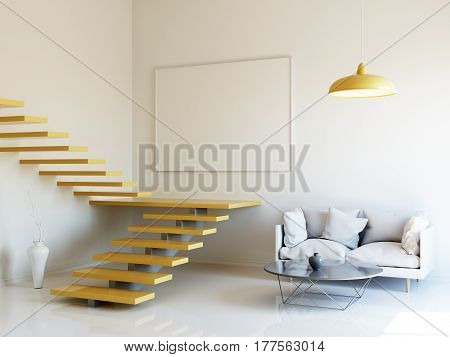 Interior illustration, 3d render of scandinavian style room with yellow staircase, white blank board