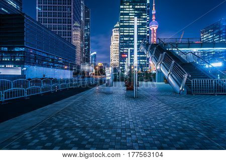 empty space in financial district of ShanghaiChina.