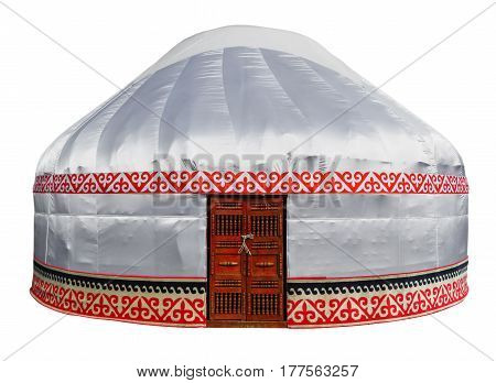 Kazakh yurt isolated on white with Clipping Path