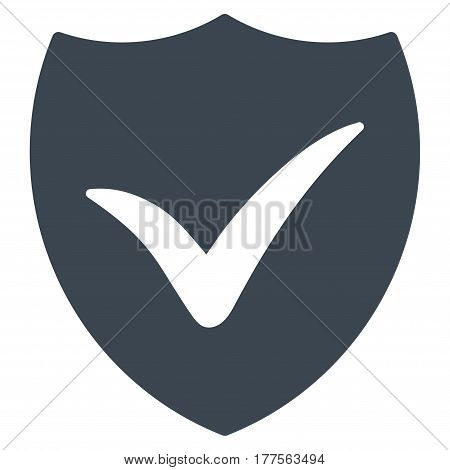 Shield Valid vector icon. Flat smooth blue symbol. Pictogram is isolated on a white background. Designed for web and software interfaces.