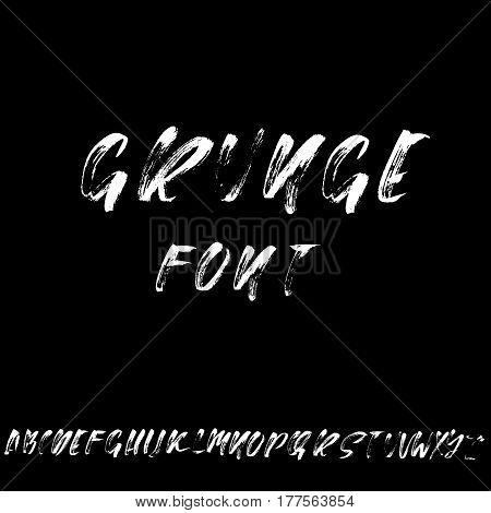 Hand drawn font made by dry brush strokes. Modern brush lettering. Grunge style alphabet. Vector illustration