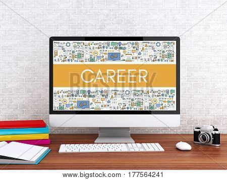 3D illustration. Modern workspace and computer with word CAREER. Technology and business concept.