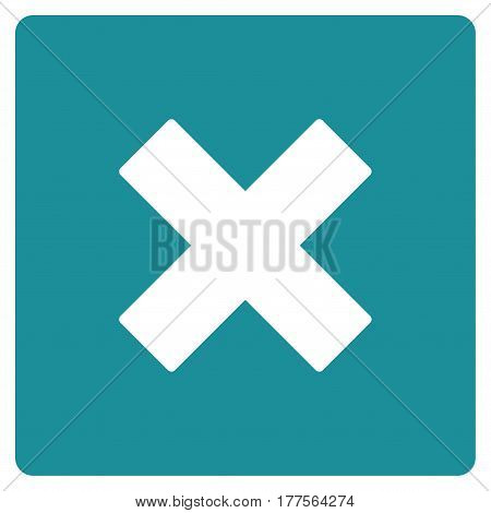 Close vector icon. Flat soft blue symbol. Pictogram is isolated on a white background. Designed for web and software interfaces.