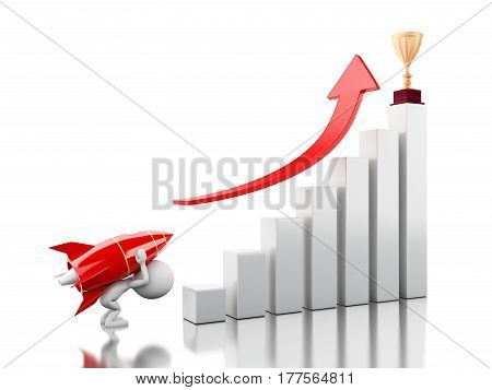 3d illustration. Rocket aiming trophy on the top of bar graph. Success bussiness concept concept. Isolated white background