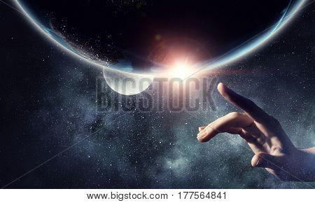 Idea of Earth creation . Mixed media
