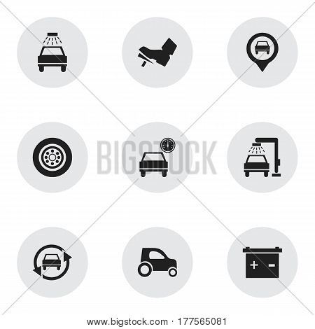 Set Of 9 Editable Vehicle Icons. Includes Symbols Such As Tuning Auto, Treadle, Tire And More. Can Be Used For Web, Mobile, UI And Infographic Design.