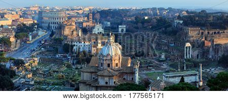 Rome City Panorama, Italy.