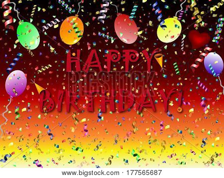 """festive background with balls and heart """"happy birthday"""""""