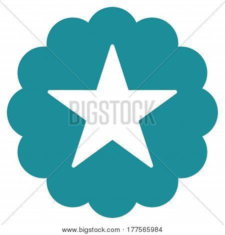 Star Quality Sticker vector icon. Flat soft blue symbol. Pictogram is isolated on a white background. Designed for web and software interfaces.