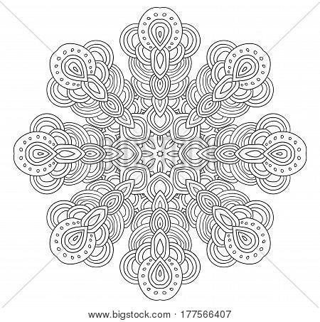 Uncolored symmetrical snowflake. Eight corned black and white mandala.
