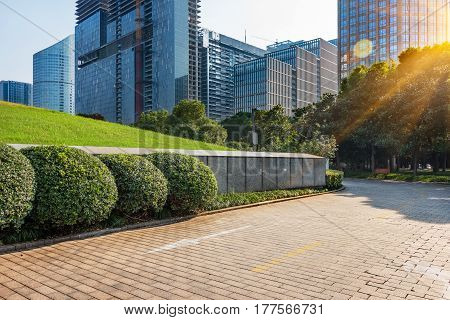 square of Shanghai financial district in China.