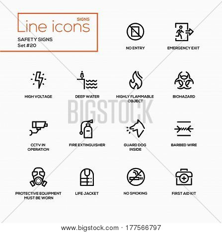 Safety Signs - modern vector single line icons set. No entry, emergency exit, high voltage, deep water, highly flammable object, biohazard, CCTV in operation, fire extinguisher, guard dog, barbed wire, protective equipment, life jacket