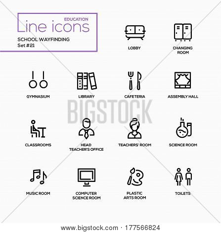 School Wayfinding - modern vector single line icons set. Lobby, changing room, gymnasium, library, cafeteria, assembly hall, classroom, principal, teacher, student, science, music, computer, toilet.