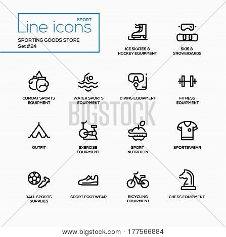 Sporting goods store - modern vector single line icons set. Ice skates, hockey equipment, skis, snowboard, boxer gloves, swiming, diving, fitness, outfit, exercise, nutrition, sportswear, ball, footwear, cycling, chess