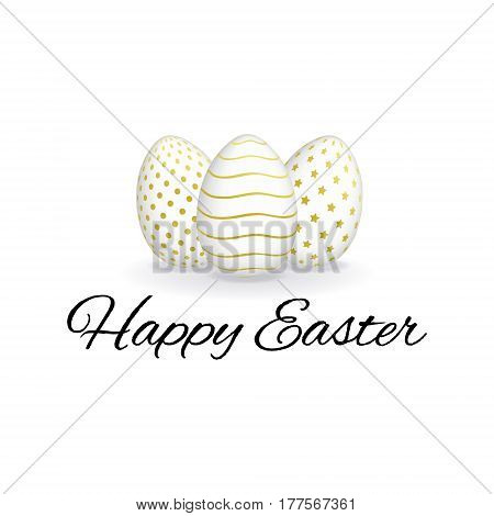 Happy Easter card with ornate eggs. Isolated realistic Easter eggs with geometric pattern. 3D vector eggs with golden ornament.