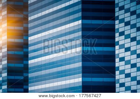 highrise buildings in modern city,blue toned,Shanghai,China .