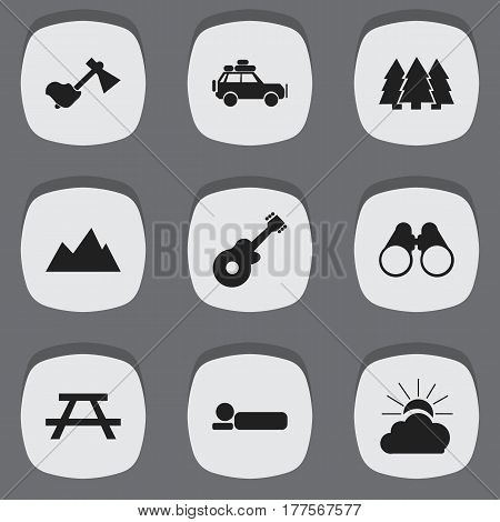 Set Of 9 Editable Camping Icons. Includes Symbols Such As Pine, Bedroll, Voyage Car And More. Can Be Used For Web, Mobile, UI And Infographic Design.