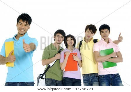 5 happy university students over a white background focus on man in blue