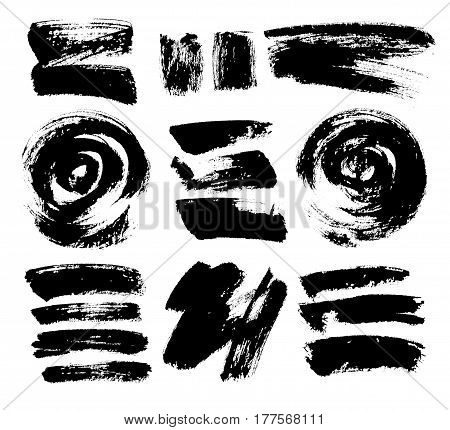 Black grungy vector abstract hand-painted background. Grunge Brush Stroke. Modern Textured Brush Stroke. Set.