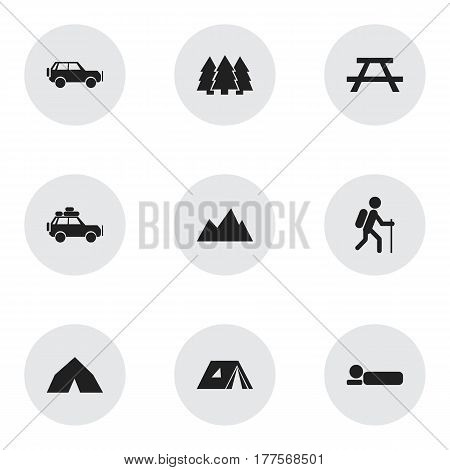 Set Of 9 Editable Travel Icons. Includes Symbols Such As Gait, Voyage Car, Shelter And More. Can Be Used For Web, Mobile, UI And Infographic Design.