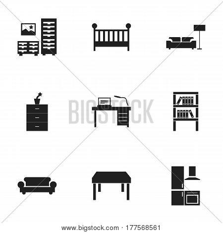 Set Of 9 Editable Interior Icons. Includes Symbols Such As Canape, Wooden Table, Child Cot And More. Can Be Used For Web, Mobile, UI And Infographic Design.