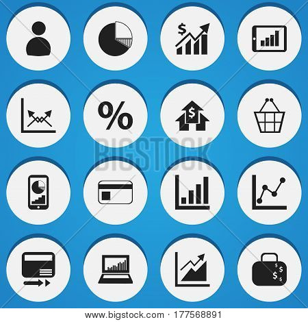 Set Of 16 Editable Statistic Icons. Includes Symbols Such As Schema, Phone Statistics, Circle Diagram And More. Can Be Used For Web, Mobile, UI And Infographic Design.
