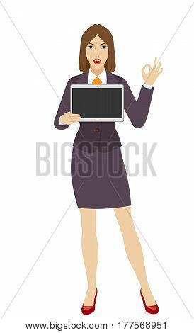 OK! Businesswoman holding a digital tablet PC and showing a okay hand sign. Full length portrait of businesswoman in a flat style. Vector illustration.