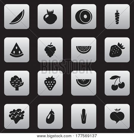 Set Of 16 Editable Fruits Icons. Includes Symbols Such As Maize, Radish, Carrot And More. Can Be Used For Web, Mobile, UI And Infographic Design.
