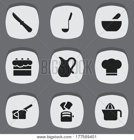 Set Of 9 Editable Meal Icons. Includes Symbols Such As Soup Spoon, Jug, Kitchen Blade And More. Can Be Used For Web, Mobile, UI And Infographic Design.