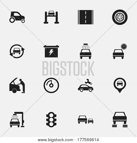 Set Of 16 Editable Transport Icons. Includes Symbols Such As Car Lave, Automotive Fix, Tire And More. Can Be Used For Web, Mobile, UI And Infographic Design.