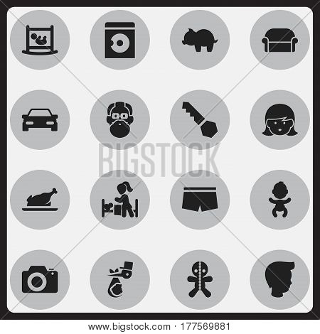 Set Of 16 Editable Kin Icons. Includes Symbols Such As Fried Chicken, Boy, Lock And More. Can Be Used For Web, Mobile, UI And Infographic Design.