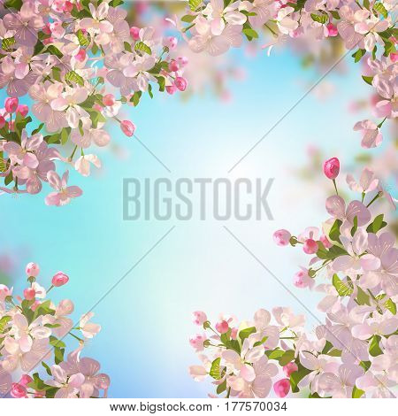 Vector background with spring Apple blossom. Blooming tree branch in springtime