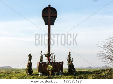 BRZEZIE POLAND - DECEMBER 11 2015: Old Wayside shrine by an unknown artist in Brzezie near Cracow. Poland