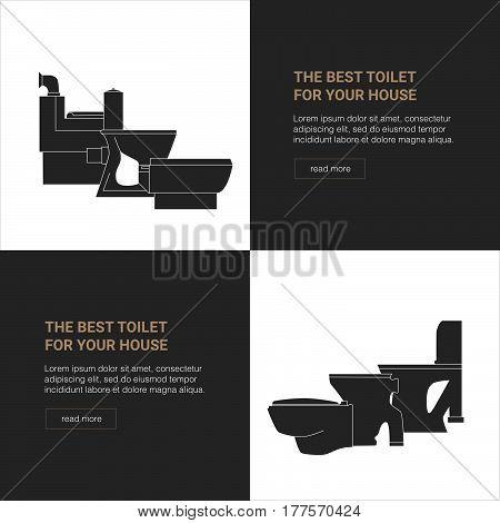 Shop toilets web banner. Toilet Seats vector icon.