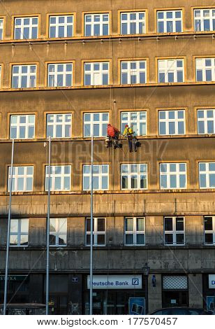 CRACOW POLAND - DECEMBER 19 2015: Work at height for the restoration of facade in Cracow. Poland