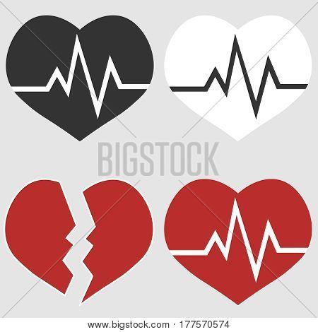 Heart cardiology. Flat design vector illustration vector.