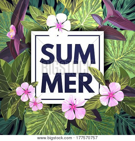 Summer tropical background with exotic palm leaves and pink flowers. Jungle floral template, vector illustration.