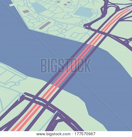 Vector flat abstract city map in perspective, river with bridge