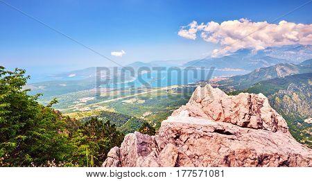 Top view Boka Kotorska gulf mountain Lovchen Montenegro wide angle.