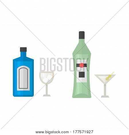 Alcohol martini drinks beverages cocktail drink bottle lager refreshment container and menu drunk concep different bottle and glasses vector illustration. Restaurant tequila rum party pub cognac.