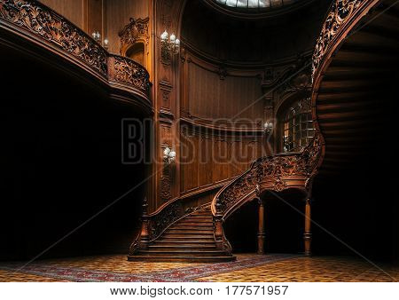 Lviv Ukraine - 23 September 2016: House of Scientists. Interior of the magnificent mansion with ornate grand wooden staircase in the great hall. A former national casino.