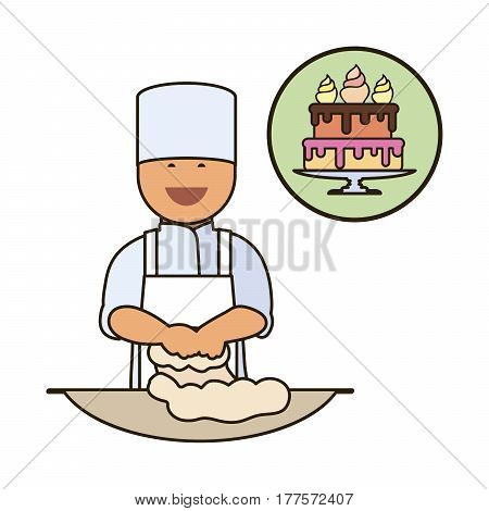 Confectioner. Catering staff. Restaurant team. Colored icon on white background