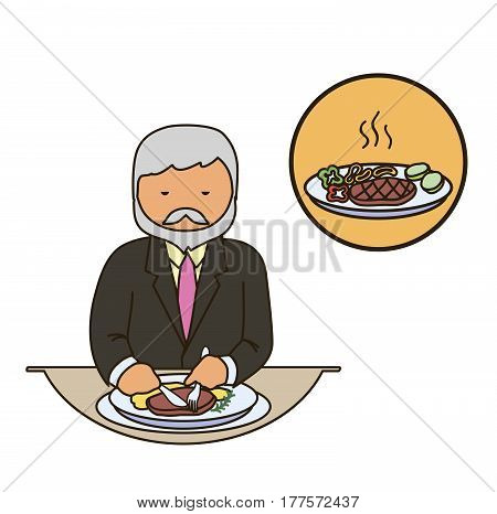 Food critic. Catering staff. Restaurant team. Colored icon on white background