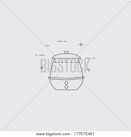Soup Kettle Line Icon. Kitchen, Restaurant Equipment.