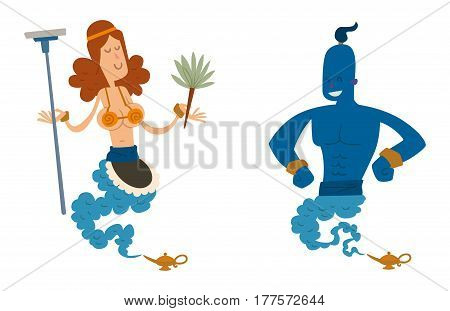 Cartoon genie support people coming out of a magic lamps. Arabian genie, businessman djinn, girl boy. Genie vector people isolated on white background collection set