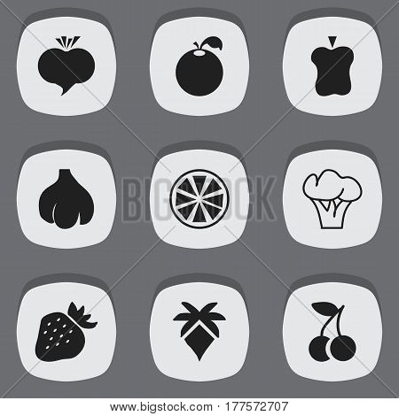 Set Of 9 Editable Berry Icons. Includes Symbols Such As Radish, Palm, Strawberry And More. Can Be Used For Web, Mobile, UI And Infographic Design.