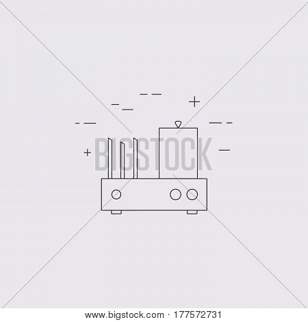 Vector Hot Dog Toaster Isolated Line Icon.