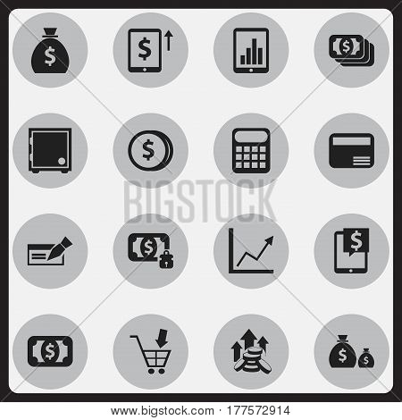 Set Of 16 Editable Banking Icons. Includes Symbols Such As Cash Growth, Banknote, Bar Graph And More. Can Be Used For Web, Mobile, UI And Infographic Design.
