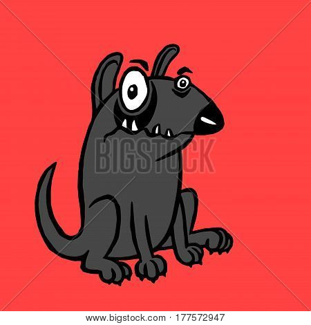 Cartoon black dog. Funny cartoon fur cool character bull terrier. Contour freehand digital drawing cute dog. Red color background. Pet sitting for web icons and shirt. Isolated vector illustration.