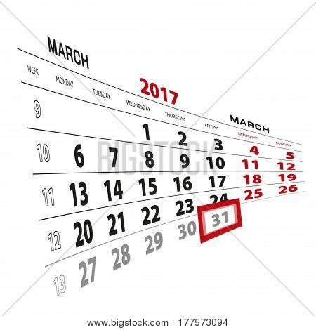 31 March Highlighted On Calendar 2017. Week Starts From Monday.